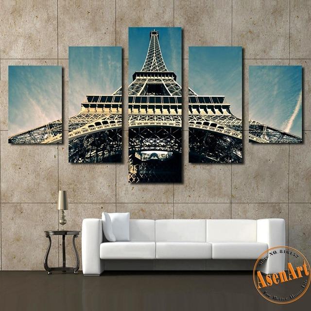 5 Piece Modern Wall Picture Canvas Painting Paris Eiffel Tower HD Prints  Art City Landscape Wall Part 55