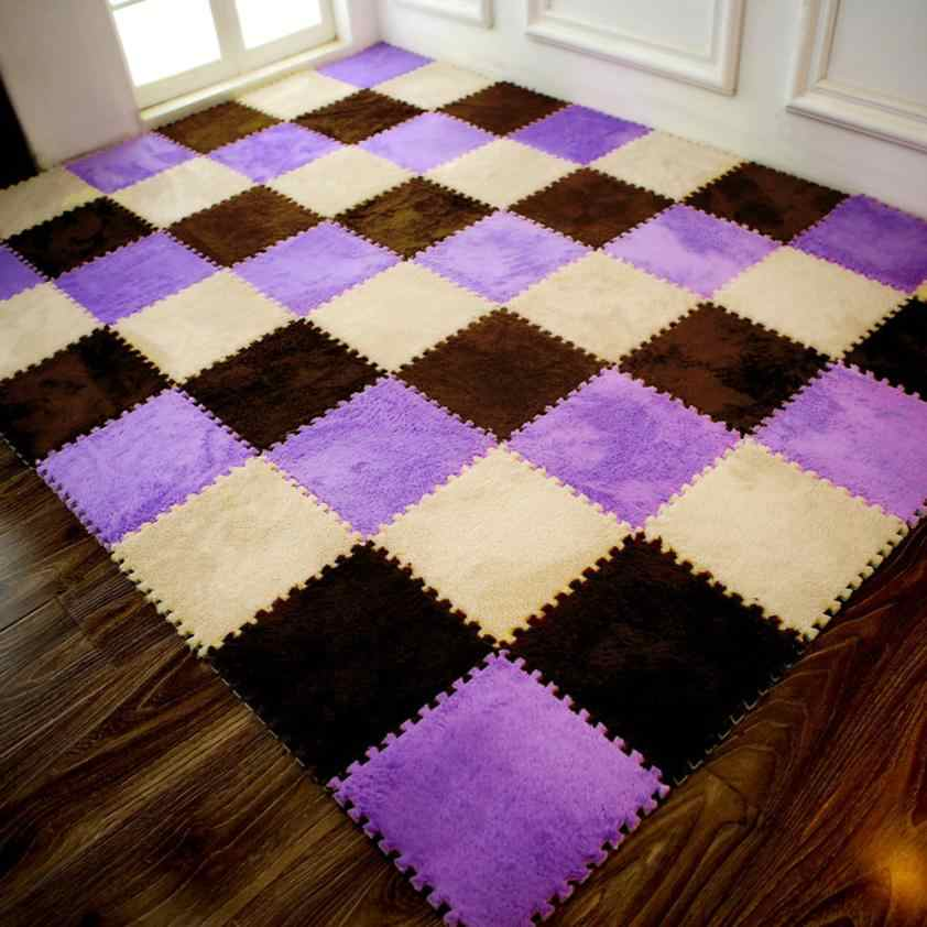 25*25cm Kids Carpet Foam Puzzle Mat EVA Shaggy Velvet Baby Eco Floor 7colors for living room tapetes para casa sala #XTN