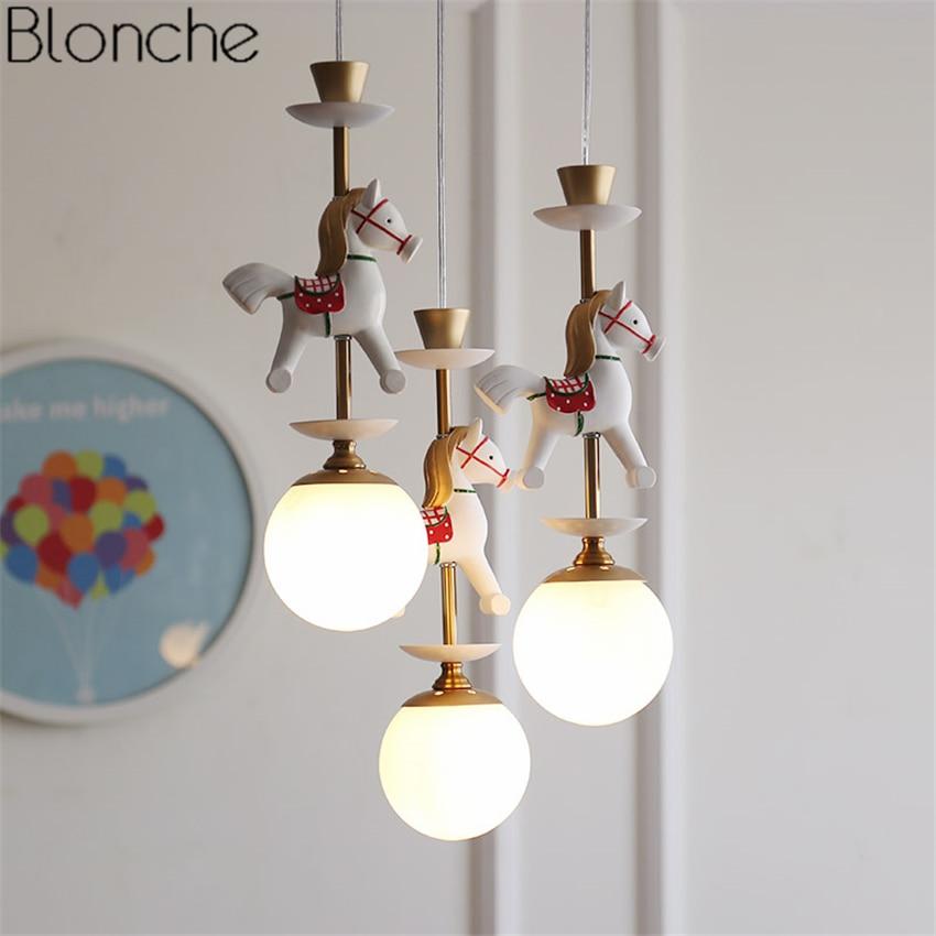 Nordic Horse Pendant Lights Led Modern Glass Ball Hanglamp Home Decor for Children's Room Bedroom Stair Light Fixtures Luminaire