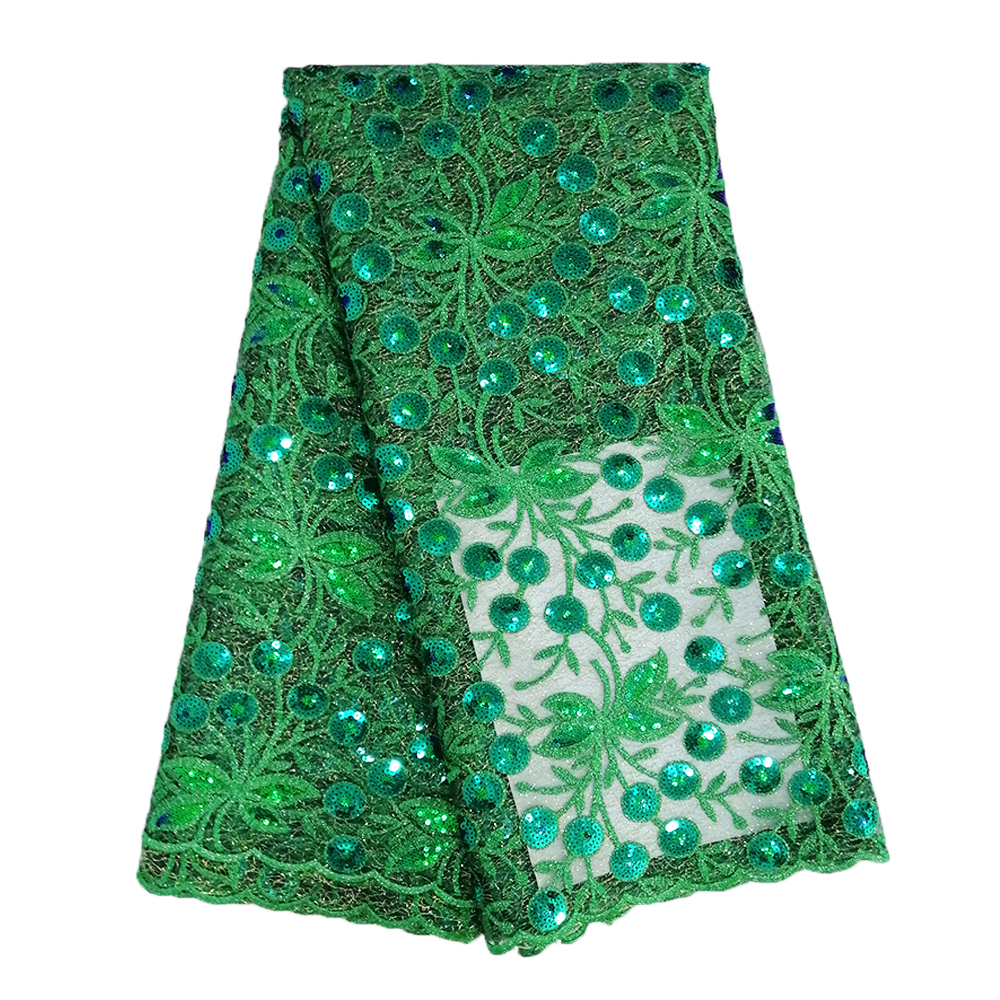 Latest Nigerian Lace Fabric 2019 High Quality 5 Yards Emerald Green Lace Fabric Mixed Net Sequin Lace Fabric for Wedding Dress