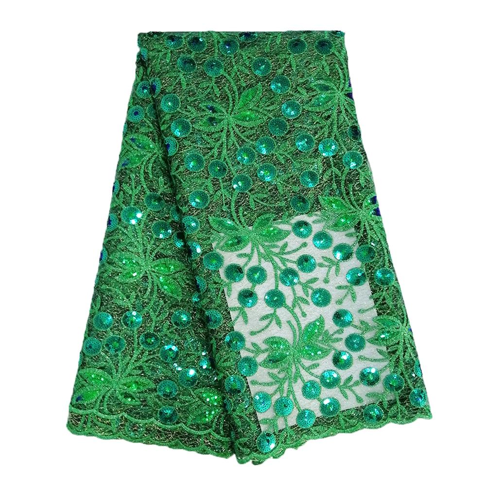 Última tela de encaje nigeriano 2019 de alta calidad 5 yardas tela de encaje verde esmeralda tela de encaje de lentejuelas de red mezclada para boda vestido-in encaje from Hogar y Mascotas    1