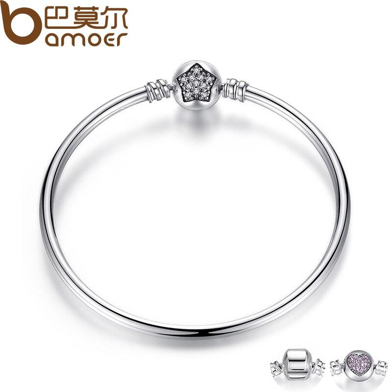 BAMOER Authentic 100 925 Sterling Silver Snake Chain Bangle Bracelet Pave Star Cubic Zirconia CZ Jewelry