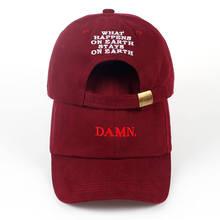 2017 ne w wine red kendrick lamar damn font b cap b font embroidery DAMN unstructured