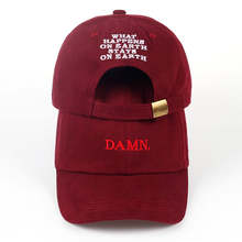 2017 ne'w wine red kendrick lamar damn cap embroidery DAMN. unstructured dad hat bone women men the rapper baseball cap(China)
