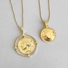 LouLeur 925 סטרלינג כסף הגזמה דמות תליון שרשרת זהב creative עגול אלגנטי שרשרת לנשים פסטיבל תכשיטים