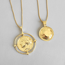 LouLeur 925 sterling silber Übertreibung abbildung anhänger halskette gold kreative runde elegante halskette für frauen festival schmuck