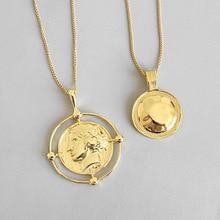 Louleur 925 prata esterlina exagero figura pingente colar de ouro criativo redondo elegante colar para o festival feminino jóias