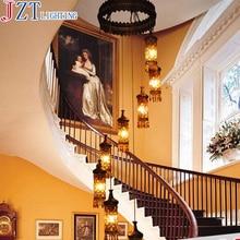 M Southeast Asia Pendant Light Bohemia Mediterranean Classical Retro Crystal 8 Head Double Entry Stair Lamp For Villa Hotel