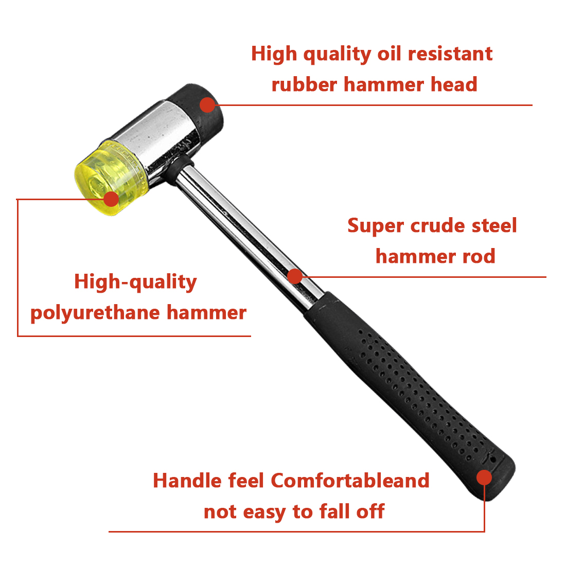 """Plastic Coated Grip Double Head Rubber Hammer 10"""" Length 25MM Double Face Soft Touch Hammer Black Handheld Tool Leather DIY Tool"""
