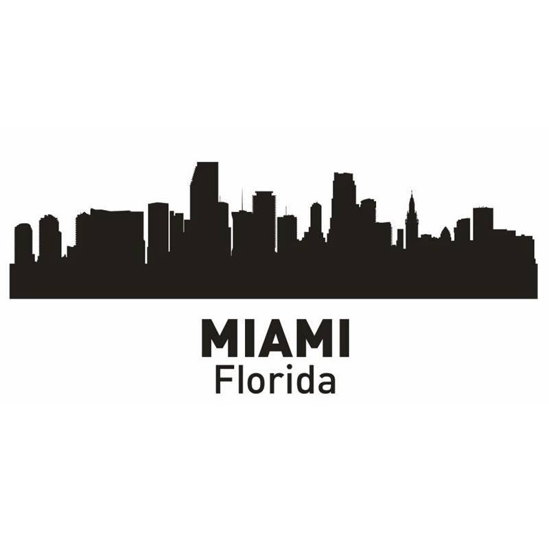 Dctal Майами Город этикета ориентир Skyline Наклейки на стену эскиз плакат Parede Домашний Декор Стикеры