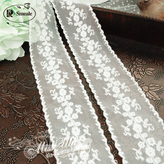 1Yd Embroidered Beaded Fabric Jacquard Trim Ribbon T501