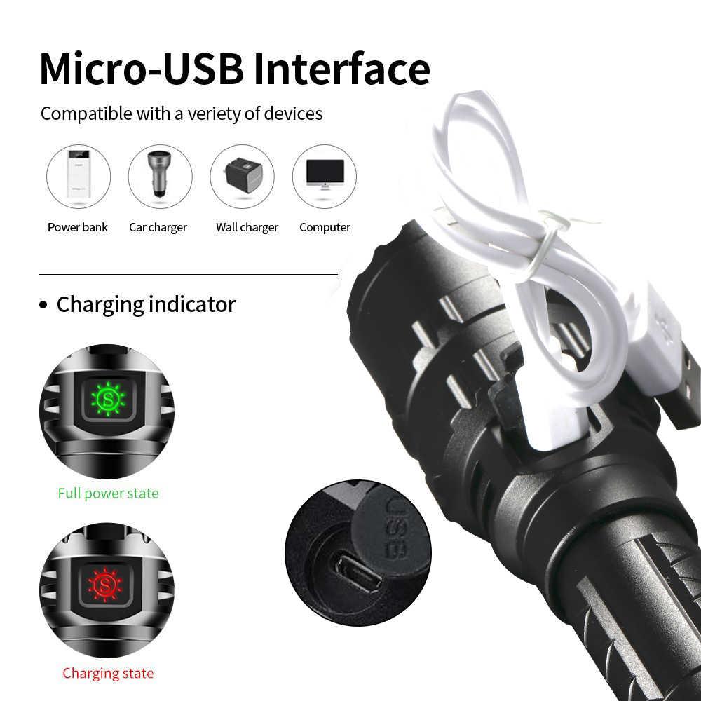 65000Lums Chiến Thuật Đèn Pin LED Hướng Đạo L2 Siêu Sáng Săn Bắt Cá Đèn USB Chống Nước Đèn Pin 5 Chế Độ 1*18650