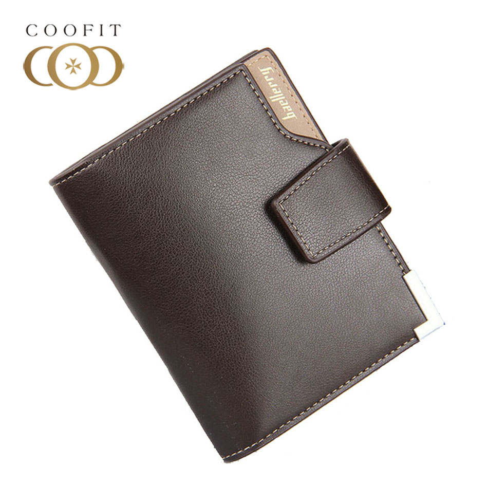 Coofit Men Casual Trifold Wallet With Card Slot Photo Window Male PU Leather Card ID Holder Metal Corner Design For Men Baellery mooncase butterfly design leather side flip wallet card slot pouch stand shell back чехолдля lg l fino d295 red