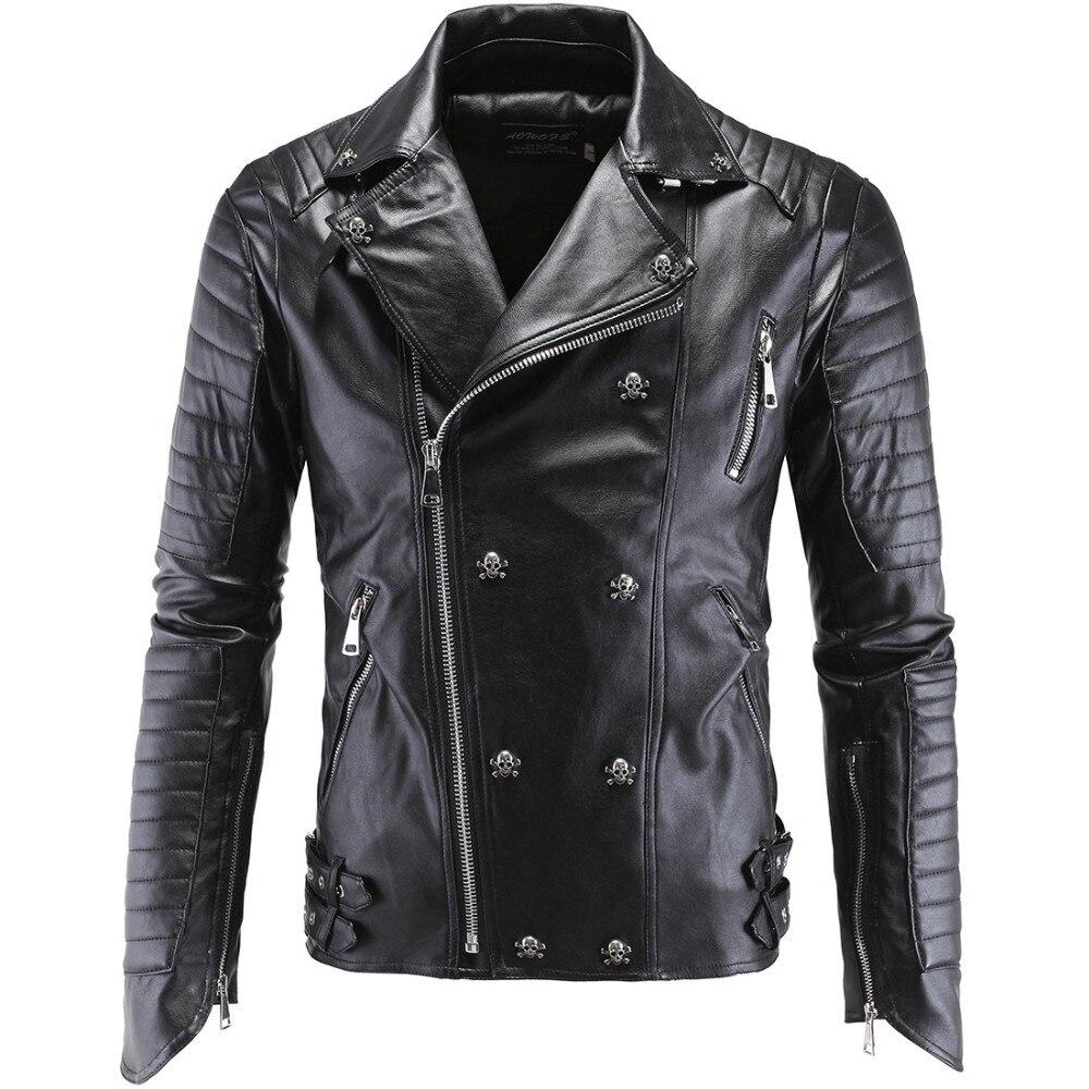 Здесь продается  German Designer Skull Rivet Studded Punk Rock Black Biker Leather Motorcycle Jackets Men Plus Size 4XL 5XL  Одежда и аксессуары