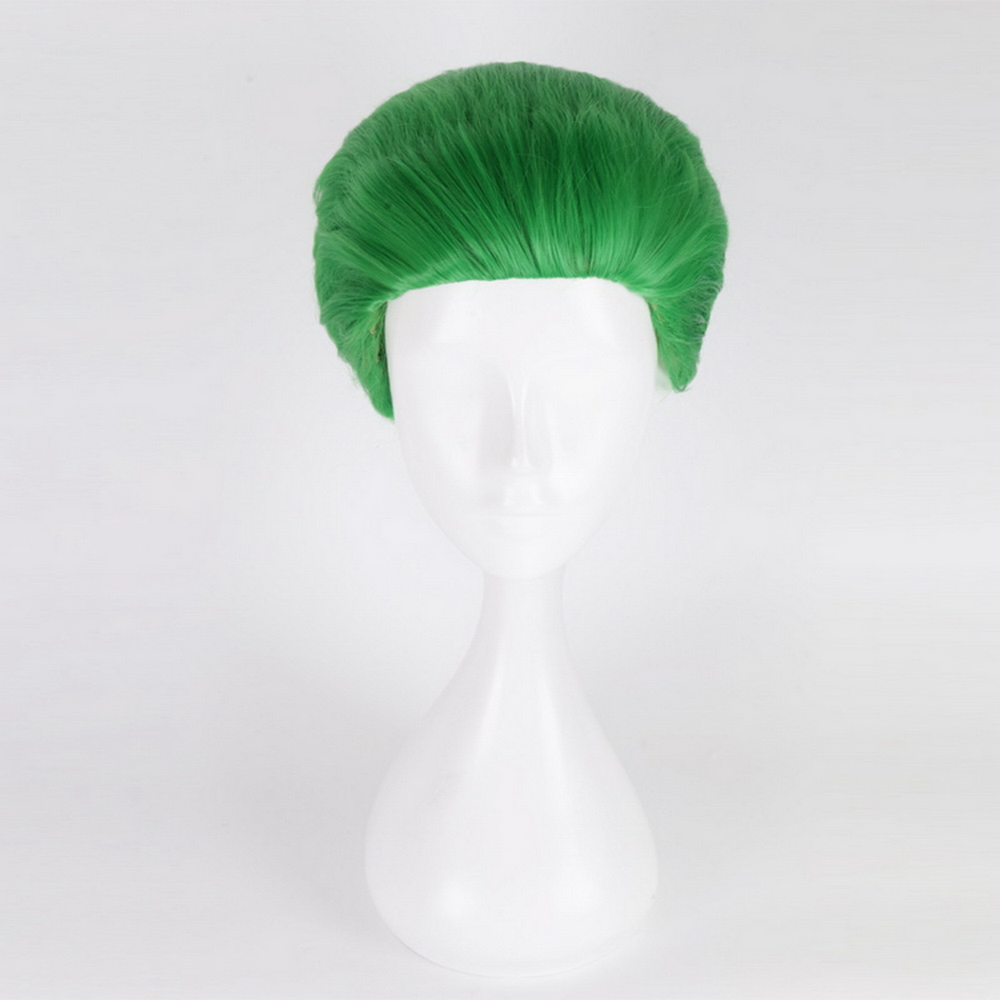 2019 New Suicide Squad The Joker Green Wig Cosplay Costume Short Hair Halloween Party Wigs For Men +wig Cap