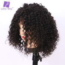 Luffy Short Curly Malaysian Non Remy Hair Lace Front Human Hair Wigs For Black Women 12″ 180% Natural Color 6Inches Deep Parting