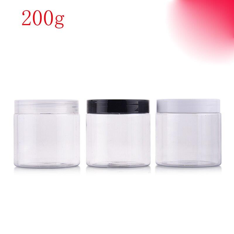 (40 piezas) 200g de color transparente redondo máscara de crema de plástico vacía botellas de PET envases para envases cosméticos Crema para el cuidado de la piel lata-in Botellas rellenables from Belleza y salud    1