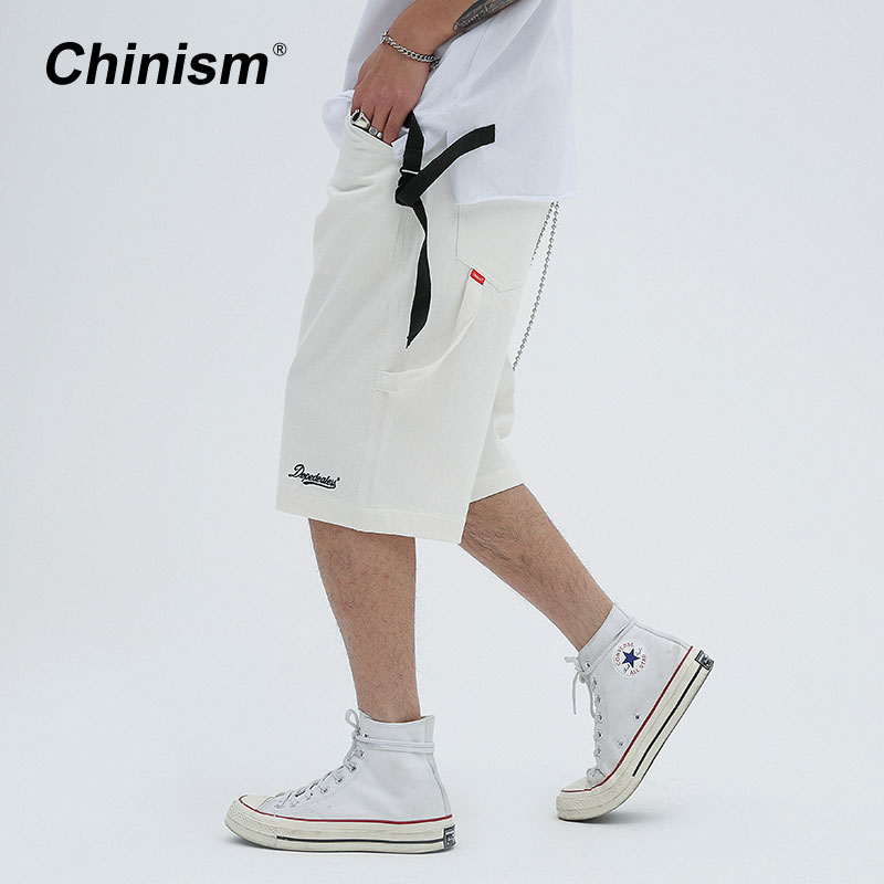 CHINISM Multi Pocket Embroidery Loose Casual Shorts 2018 Fashion Streetwear Shorts Mens Hip Hop Stright Knee Length Cargo Shorts