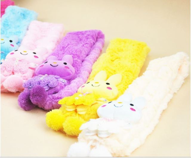 Free shipping 5pcs/lot cartoon Soft shawl muffle Plush Scarf Pink for Girl Children kids neck warmer