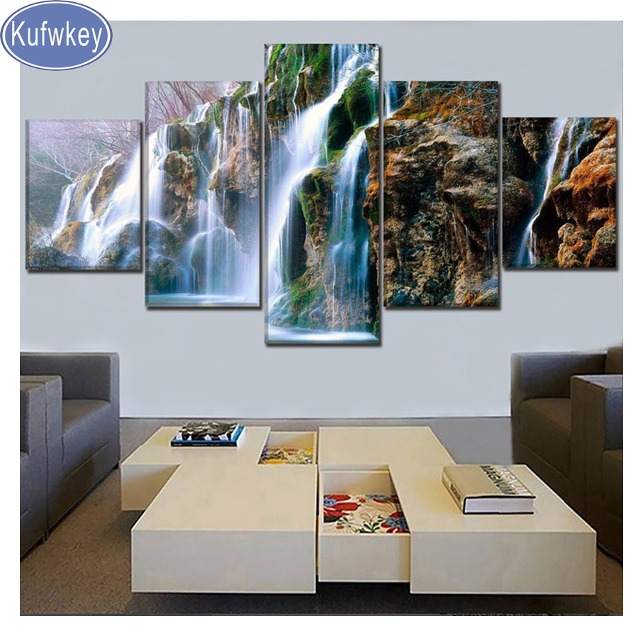 5 Panel Nature Mountain Rock Landscape Waterfall Diamond Embroidery 5D diy Diamond Painting picture Cross Stitch