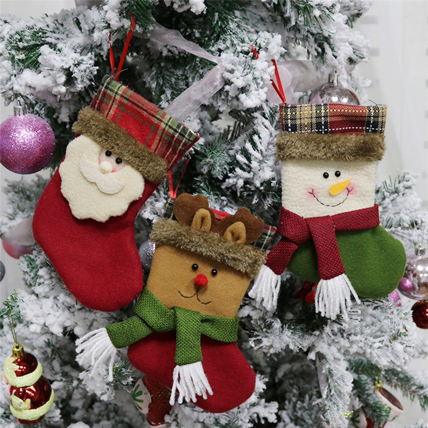 Popular Home Decor Gift Ideas For Christmas: Christmas Tree Ornament Socks Santa Claus Snowman Hanging