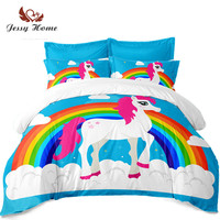 Sky Blue Bedding Set Unicorn Duvet Cover Set Kids Cartoon Bed Cover Rainbow Print Pillowcase Colorful Bedclothes Home Decor D30