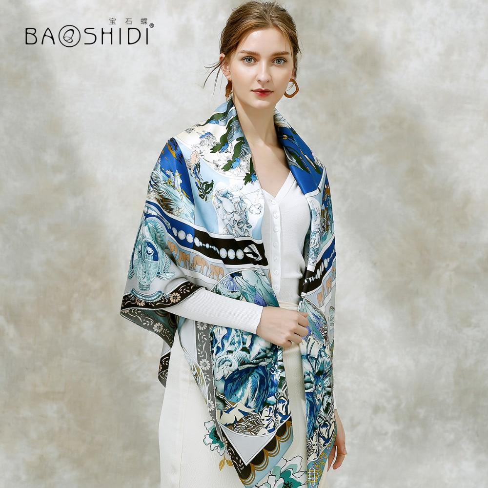 BAOSHIDI 100 silk fashion women scarf 16m m thick Infinity 132 132 winter scarves Luxury