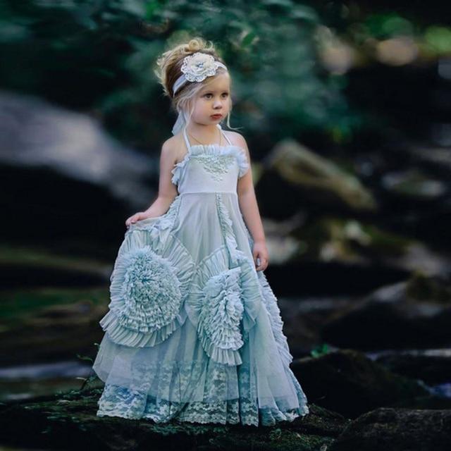 d90c4ce38c Cute Halter Flower Girl Dress A Line Floor Length Pageant Gown Girls Custom  Made Junior Bridesmaid Dresses Light Blue Teens Wear