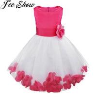 Rose Flower Girls Princess Dress Kids Baby Party Wedding Pageant Lace Dresses Clothes Enfant Children Girl