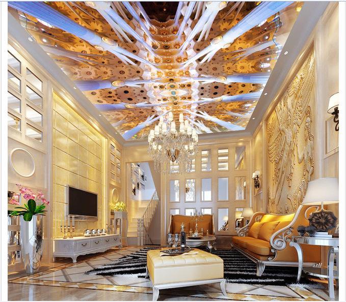 3d壁紙カスタムmural不織布ウォールペーパー3 dヨーロッパのスタイル建物天井壁画設定
