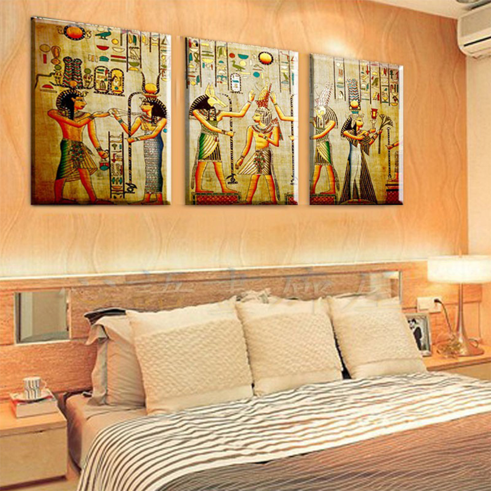 3 Panel Pharaoh egyptian decor modern abstract canvas painting art ...
