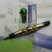 Wholesale Noble JINHAO golden dragon king play pearl fountain pen beautiful retro culture gift pen with Ordinary Gift Box L2581A
