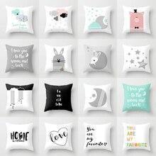 Funda de cojín de algodón con diseño de animales de dibujos animados Elife, decoración de poliéster para el hogar, cojines decorativos para sofá o coche