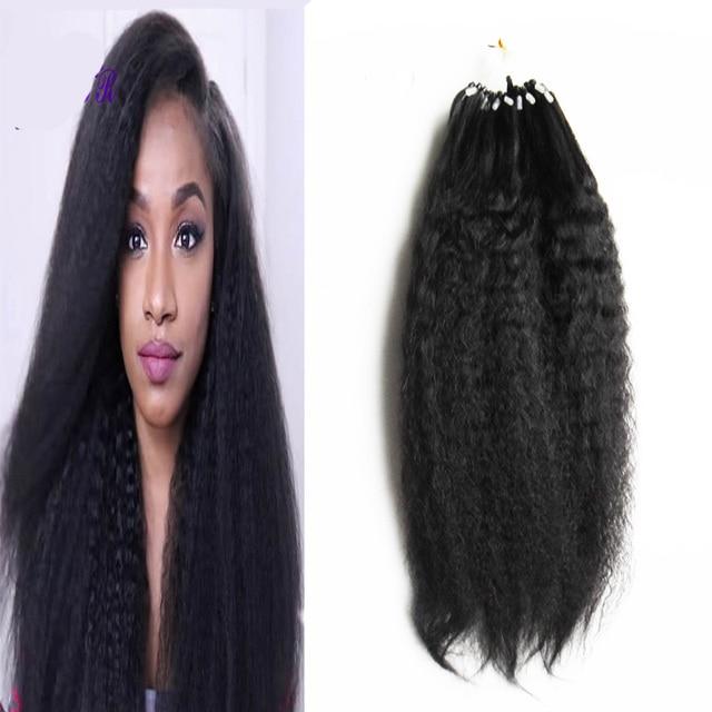 Coarse Yaki Kinky Straight Micro Link Hair Extensions Human 100g