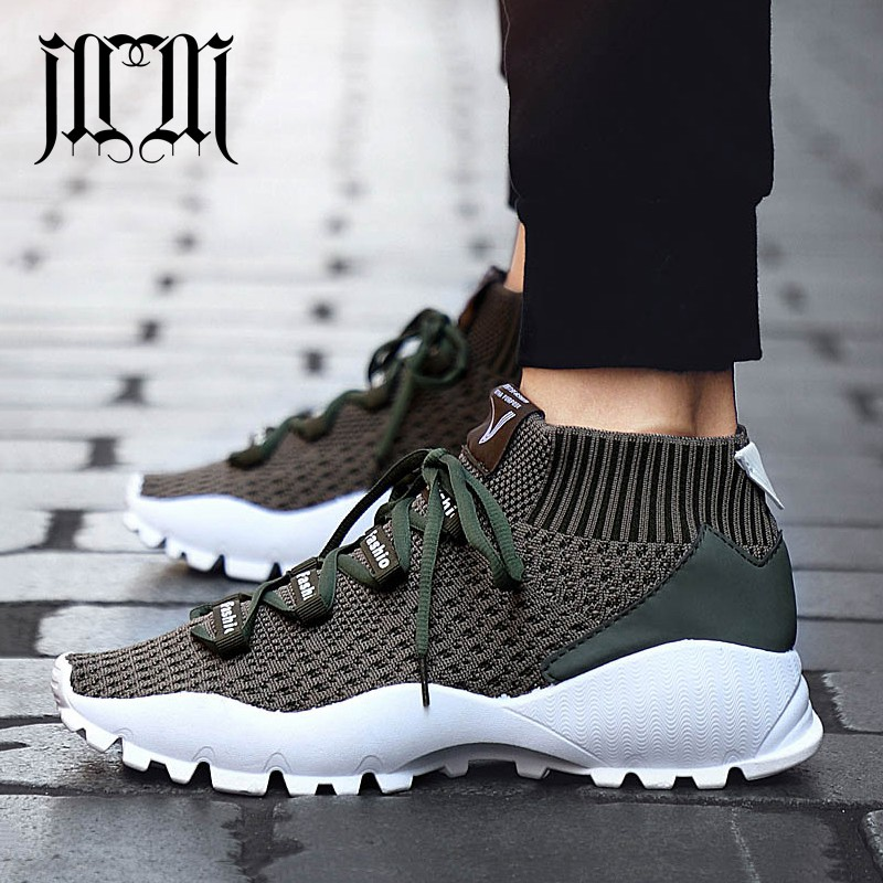 MumuEli New Dark Khaki Green Black 2018 High Top Quality Shoes Men Breathable Casual Designer Fashion Luxury Brand Sneakers KF01