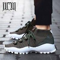 MumuEli New Dark Green Khaki Black 2019 High Top Quality Shoes Men Breathable Casual Designer Fashion Luxury Brand Sneakers KF01