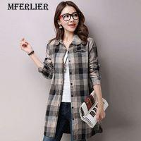 Mferlier Summer Autumn Literature Plaid Shirt Turn Down Collar Single Breasted Pocket Long Sleeve Cottom Linen