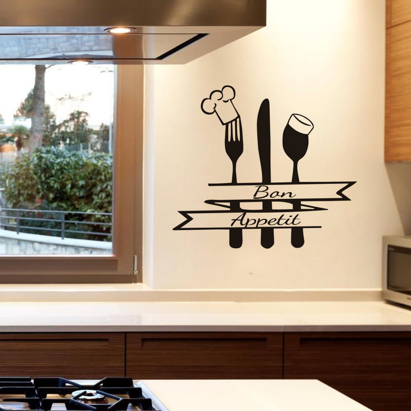 Dctop Folk Spoon With Chef Hat Funny Wall Sticker For