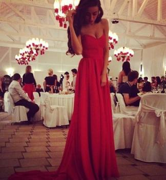 Satsweety A line Sweetheart Pleated Chiffon Long Train Charming Red Bridesmaid Dress weddings & events Prom Dress charming a line sweetheart sleeveless beading prom dress