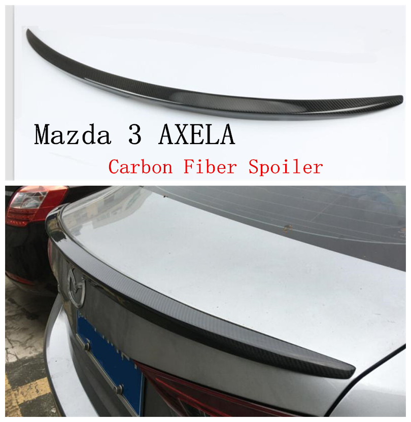 Auto Carbon Fiber Spoiler For Mazda 3 AXELA 2014 2015 2016 2017 2018 Rear Wing Spoilers High Quality Car Accessories real carbon fiber sports car rear roof double dual spoiler wing for mazda 3 axela hatchback 2014 2015 2016 2017