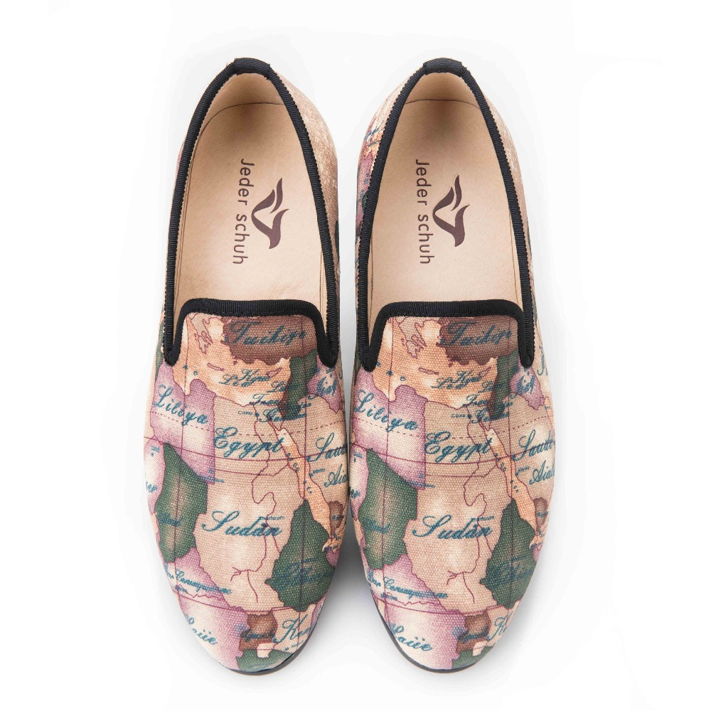 Jeder Schuh handcraft men fabric shoes with globe printing British design  men smoking slippers men casual shoes Party men loafer-in Men s Casual Shoes  from ... b206d0fedb91