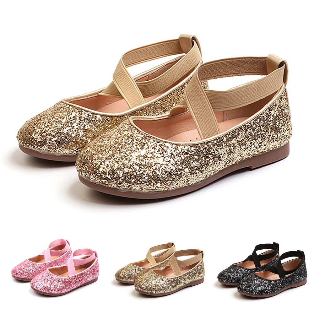 2019 NEW ARRIVAL Kids Baby Infant Toddler Girls Sequins Bling Princess Shoes Dancing Shoes Single Flat Shoes Fashion Hot W#4