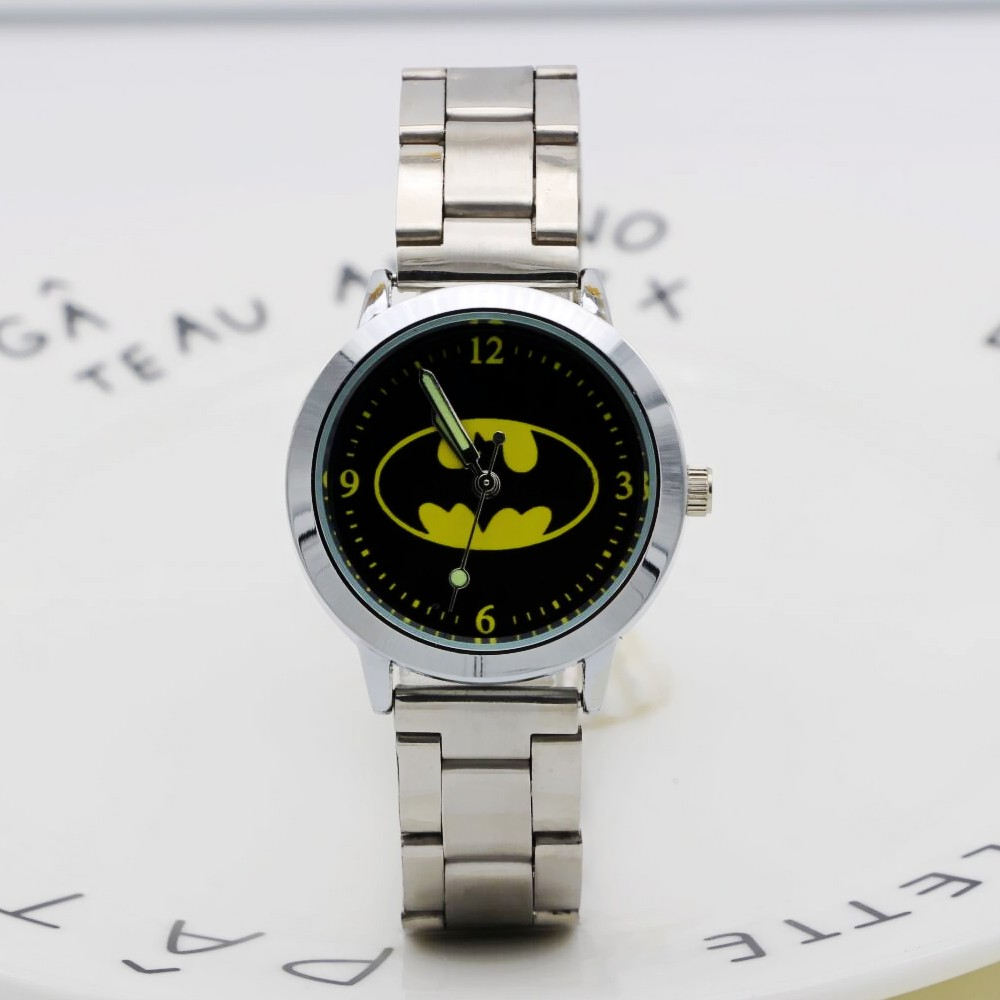 New Fashion Women Stainless Steel Watch Girls Boys Lovely Batman Quartz Watch Cartoon WristWatches Clock Femininos Montre Femme