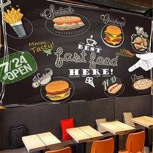 Custom wallpaper murals European pizza dessert shop blackboard color graffiti background wall high-grade cloth
