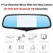 5″ Car Mirror GPS With One Way Camera HD DVR Bluetooth FM transmitter