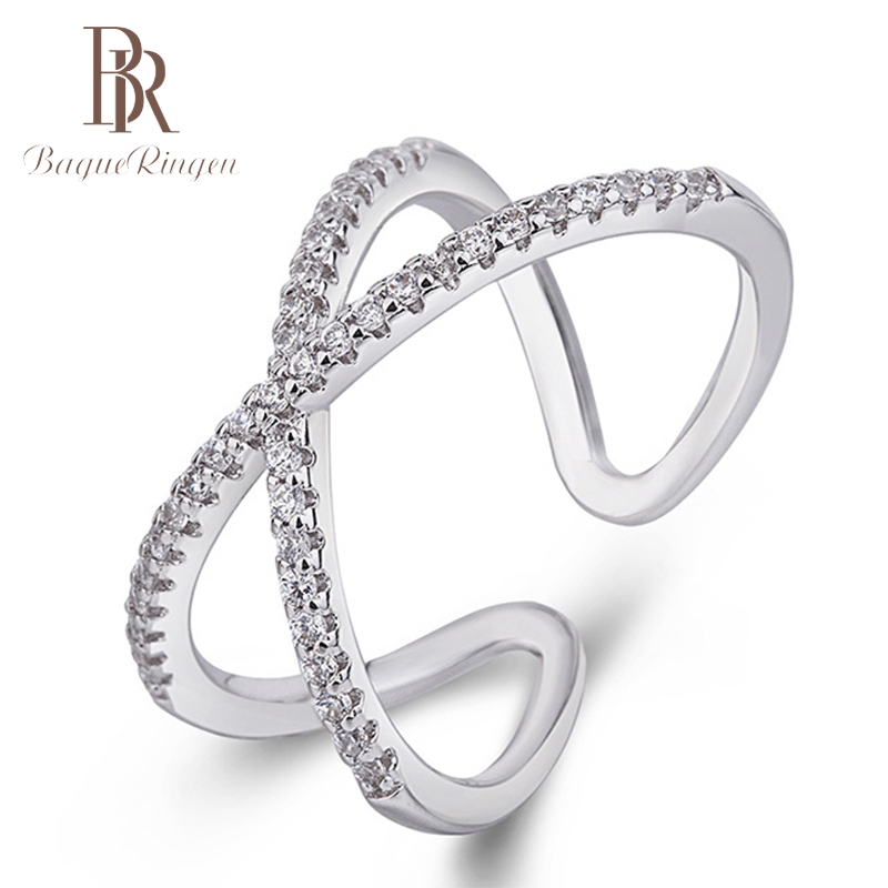 Bague Ringen  New Arrivals 925 Sterling Silver Open Zircone Rings Double Layer Rings For Girl Women Rings Gift Jewelry