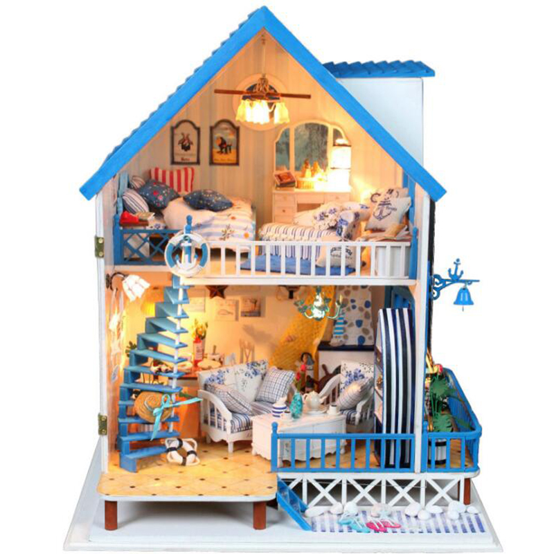 Doll House Miniature DIY Dollhouse With Furnitures Wooden House Toys For Children Birthday Gift cutebee doll house miniature diy dollhouse with furnitures wooden house toys for children birthday gift k007