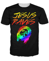 Jesus Raves T Shirt 3d T Shirt Women Men Black Tees Casual Sport Tops Outerwear Outfits