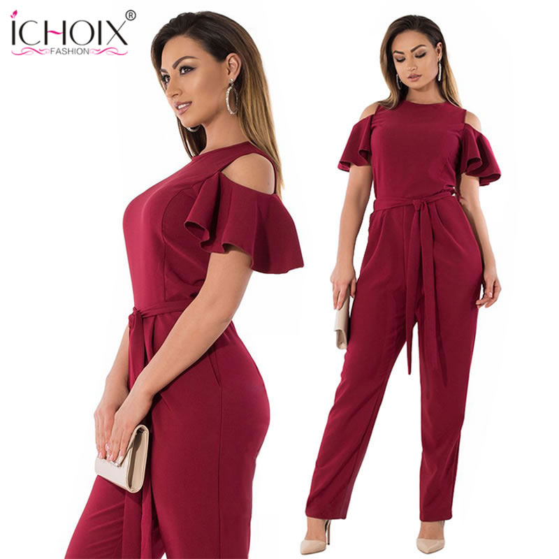 d38b21f7e32 ICHOIX 2019 6XL Summer Plus Big Size Jumpsuit women Sexy Off Shoulder Romper  Overall Large Size