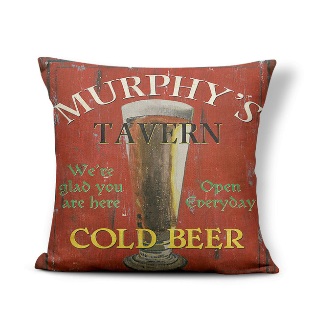 Retro Poster Cushion Cover Watercolor Bar Cold Beer Man Cave Pillow Case Cover Decor Home Throw Pillow Large Linen Blend Funny 3